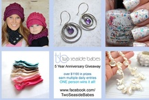 Two Seaside Babes 5 Year Anniversary Giveaway / May 14th is my 5 year business anniversary for Two Seaside Babes. Many of my creative friends, that own their own handmade businesses, have graciously donated their beautiful products and gift certificates for my giveaway. Over $1200 in items have been donated. ONE lucky person will win it all! So be sure to enter. The giveaway will run on my facebook page http://www.facebook.com/TwoSeasideBabes from 14 May - 19 May (midnight EST).