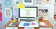 Colourful Workspaces / A collection of colourful workspaces. Inspiring ideas for how to display all your work tools and how to keep everything organised when working from home. Surrounding ourselves with colour and motivational quotes creates an inspiring environment.