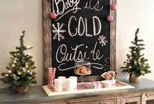 Chalkboard Christmas theme / Christmas with a rustic feel. The coffee house chalkboard trend and it's many uses in your decor, invitations, holiday greeting cards and more.