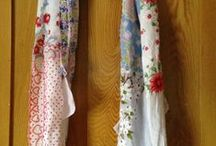 My Vintage Hankie Scarves / I finally figured out what to do with all those old handkerchiefs.  I make them in to scarves