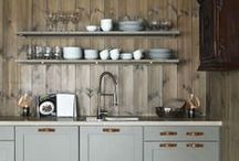 Kitchens:  Neutral Hues / Comfortable kitchens using combinations of neutral colours. ideal for cabins, and ski lodges.  See chosen cabinets, curtains and accessories.