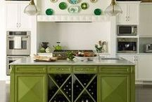 Green Cottage Kitchen / Green cabinets, curtains, tablecloths and accessories for your farmhouse country kitchen with even a touch of Provence