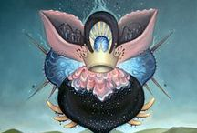 My Artwork: Biomorphic Garden Party / Oil paintings of pop surrealist organisms, landscapes, space creatures and more.