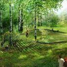 ogród przy lesie
