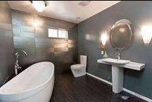 Our Modern Bathroom Designs / A modern style bathroom is typically simple with clean lines. Can also encompass geometrical shapes and makes use of storage to clear out clutter.