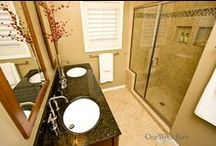 Bathroom Design 1 / Our transitional style neutral beige three-quarter bathroom.