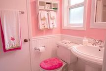 Bathroom Design 31 / A girl-themed pink and white Jack and Jill bathroom.
