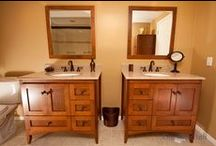 Bathroom Design 44 / Our traditional style bathroom with double furniture style vanities.