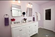 Bathroom Design 64 / A traditional style lavender and white bathroom remodel.