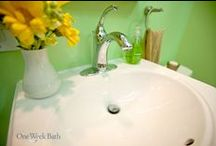 Bathroom Design 71 / Our contemporary style bathroom remodel in a bold, green color.