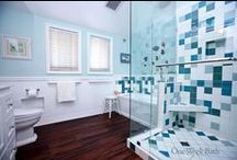 Bathroom Design 83 / An eclectic blue and white beach cottage bathroom design.