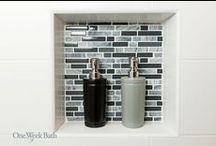 Bathroom Design 102 / A modern bathroom remodel with gray and white tile.