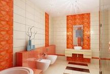Orange Bathrooms / Wake up each morning to bright and happy orange bathrooms.