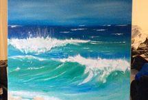 Meer / Atlantik bei Mimizan Plage Acryl auf Leinwand 100 cm x 70 Von Iris Million