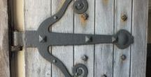 Castles, Castle Doors, Locks and Ironmongery / Lovely old (and new) castle doors, locks and ironmongery. Strap hinges, rim locks, ring pulls and more. These are photos of old doors and ironmongery, full of character and also new ironmongery pieces, suitable for these traditional doors.