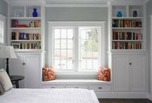 DECOR - MASTER BEDROOM / Modern decor for the master bedroom - natural lighting, fixtures, bedding, shelving, window seats and more