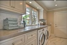 DECOR - LAUNDRY ROOM / Ideas for the modern laundry room - large folding spaces, unique hanging racks, stone countertops, built-in shelving, clean cabinetry, utility sinks, eclectic decor and more