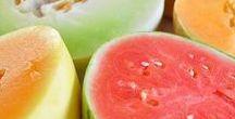 Pflanzen: Melone (Gemischt / Mixed) / Melone - Wassermelone / Watermelon ~~~ Honigmelone / Honeymelon ~~~ Zuckermelone - Cantaloupe Melone / Muskmelon + Obst - Früchte / Fruit