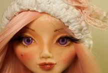 OOAK Art Polymer Clay doll - Soft Pink / Soft Pink