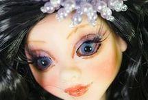 OOAK Art Polymer Clay doll - Butterfly in black / Butterfly in black