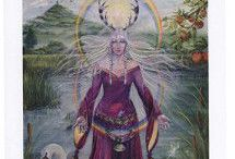 The artwork of Caroline Lir, Priestess of Avalon / Caroline Lir painted the Wheel of the Year as part of her training when becoming a Priestess of Avalon.  These paintings are now an integral part of of the Avalon training.