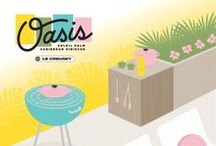 OASIS / Inspired by the crisp design and backyard gatherings of mid-century America. The new Oasis palate features Palm, Soleil, Caribbean, and limited edition Hibiscus. / by Le Creuset