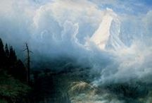 Albert Bierstadt / Albert Bierstadt (1830–1902) made his first trip West in 1858 and traveled there again in subsequent decades; his last excursion was 1884. His dramatic mountain and marine views, often quite large, were enormously popular. Reflecting his training at the famed Düsseldorf academy, Bierstadt's carefully composed romantic paintings are full of details that are faithful to nature but do not necessarily document a particular place.