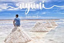 Uyuni | Bolívia / O maior deserto de sal do mundo é uma das principais atrações da Bolívia. A essa terra cheia de misticismo, chegam milhares de turistas todos os anos para saborear um pouco das maravilhas dessa região.   Quando coberto pela água, o Salar proporciona uma paisagem fantástica. Chamado pelo pessoal que vive aqui de espejismo, o reflexo da água forma um efeito como se o céu e a terra fossem apenas uma coisa.