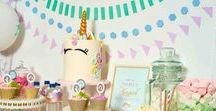 Unicorn Party Ideas / Unicorn party ideas -- cakes, decorations, party foods and favors. Shop the Bee Box Parties Unicorn Collection at https://beeboxparties.com.au/products/unicorn-1