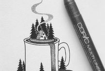 Nature and camping drawings