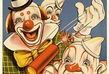 l.a.u.g.h.t.e.r CLOWNS☺no frowns☺ / WEBSTER:    buffoons, comedians, jesters, simpletons, bumpkins, nincompoops.   MY RENDITION:   because I prefer smiling and happy clowns, these have grins (with the exception of the first pin) He is a very famous Barnum Bailey clown - now deceased - This board is mainly to honor him, since he was always so unhappy.