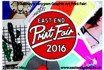 """EAST END PRINT FAIR 2016 / """"Hackney's Very Own Graphic Art Print Fair. """" 21st /22nd May 2016 10-5pm  #eepfair16 Artists Led Outdoor Event - Our courtyard will be transformed to host over 20 artists, illustrators and printmakers. EAST END PRINTS has been supporting emerging artists and illustrators since 2010 and we are delighted to bring together the best graphic art and illustration at this exciting event. At the FOUNT London Courtyard.Railway Arches 358-360, Westgate Street, London, E8 3RN"""