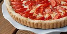 Savory Tarts / Okay, it's not really dessert first, but with rich, buttery pastry, tart for dinner is decadent and delicious.  Inspiration and recipes for savory tarts featuring fresh vegetables, cheese, fruit, bacon, and more.