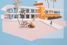 El Gato Gomez Art / Current day Mid Century Modern inspired artist.  Architecture, decor, tiki, 3 color palette. Love!!!