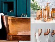 Décorer ma future... salle de bain ! / #cuivre  cuivre rose gris anthracite / gris clair
