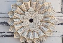 Book Decor / Board dedicated to handmade decor & Crafts constructed out of recycled book pages & sheet music.