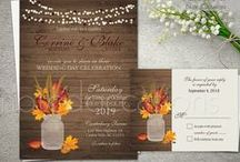 Fall Wedding Invitations for Rustic Fall Weddings 2016 / Fall wedding invitations. Rustic fall  wedding invitations and rsvp card designed with the fall wedding in mind. From barn wood grain with mason jars and flicker lights to country western weddings- with pretty fall autumn fall leaves, strings of lights above and contemporary fonts and stylings. These Fall Wedding  rustic theme wedding invitations are perfect for weddings with a contemporary bride to be at hand.