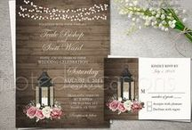 Metal Lantern Wedding Invitations / Decorating with lanterns at your wedding this year? Here are some fun lantern wedding invites with florals for rustic country weddings.