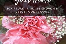God's Words for Your Heart / God is good. He is enough. Look around you and you will always find a reason why. I hope these verses will offer you hope and encouragement. Check out wearethelovelyones.com for more!