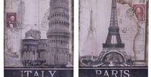 Holzbild : Landschaft - Wood sign : Landscape / Wunderschönes &  massives Paar Bildertafel aus Holz von Italien & Frankreich. Unique wood signs of Italy & France. #werbung #auktionshausbadhomburg #auktionshaus #aubaho #art #kunst #woodsign #holzbild #wood #holz #city #town #stadt #paris #france #frankreich #pisa #italien #landmark #italy #sightseeing #tourism #tourismus #reise #trip #decoration #dekoration #painting #bild #landschaft #landscape