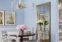 Chic Meets Antique Cottage / This cottage has been Melanie's labor of love and design lab for the past few years. She wanted a beautiful jewel box that wouldn't break the budget or compromise quality. The result is a girly modern showcase of Swedish and French antiques, America mid-century and flea market finds paired with modern items and art. The living room beaded wallpaper, the dining room Venetian horse chandelier and the custom velvet sofa and vintage moth lamp in the den are a few of her favorites in the home.