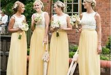 YELLOW BRIDESMAID DRESSES + WEDDINGS / Think Spring! Ever more popular in fashion and weddings, yellow is a great color choice for your bridesmaids. Sure to brighten up your Big Day, your bridesmaids will wear this color dress again and again! Yellow bridesmaid gowns, yellow bridesmaid dresses, yellow wedding inspiration, yellow wedding ideas, yellow accents wedding, yellow bridesmaid inspiration, long yellow bridesmaid gowns, short yellow bridesmaid dresses