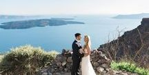 Vow Renewal in Santorini / An intimate Vow Renewal in Santorini with wonderful spring flowers in vibrant colours.  Photograhy by Adrian Wood