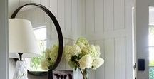 Entry Way Inspiration / Stunning entry ways, front door color, entry way consoles and bench, farmhouse decoration, shiplap and wainscotting entryways.