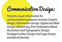 Communication Design  / Communication Design – presents visual information for communication purposes. It includes Graphic Design, Information Design, Digital and Web Design, Advertising, Print Publication/Book Illustration and Typographic Design, Package/surface Design and Logo Design and Brand Identity.