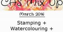 "CAS Mix Up March 2016 Challenge / Watercolouring is this month's challenge. Two other elements are required:  Stamping + ""your choice"" (pick from a list of options on the challenge sidebar)"