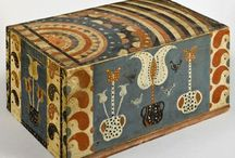 """The Compass Artist Boxes - American Painted and Decorated Boxes / Exceptional Examples of American Folk Art Painted Boxes by """" """"The Compass Artist"""" / by Lynne Kossarek"""
