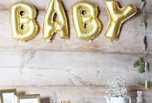 Gold Balloon Letters - decorations ideas for Baby Shower
