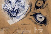 Drawing animal details / Animal details.