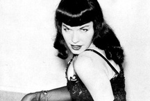 Bettie Page / Lots of people like Marilyn Monroe.  I do as well.  But I've always been more of a Bettie Page fan.  Love her vampy look with dark wavy hair and short bangs - her trademark.  Even though her photos were very racy and controversial of the time, she was a very sweet and innocent girl.